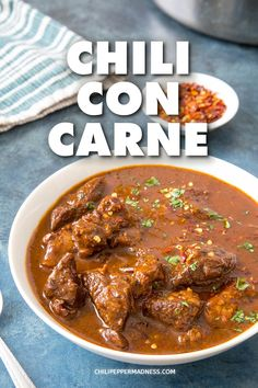 Chili Con Carne - A recipe for rich and authentic chili con carne, a spicy stew of beef and chilies, including ancho, guajillo and jalapeno, and many wonderful seasonings. chili Dinner Spicy via 72128031518346789 Stew Meat Recipes, Chilli Recipes, Top Recipes, Mexican Food Recipes, Cooking Recipes, Stewing Beef Recipes, Weekly Recipes, Pepper Recipes, Mexican Desserts