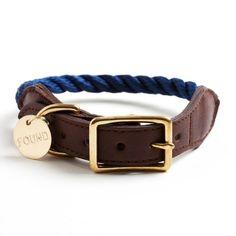 Navy rope dog collar