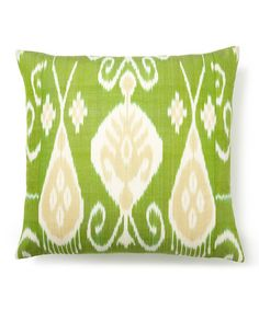 Take a look at this Lime Ikat Silk-Blend Square Down Pillow by Frog Hill Designs on #zulily today!
