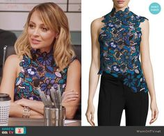 2e49f2c0ffece Portia s blue and green lace top on Great News. Outfit Details  https
