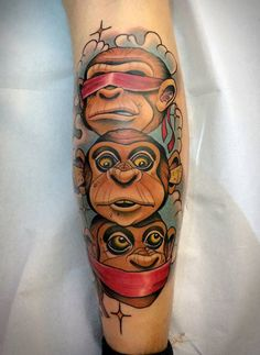 A new school version of the popular 3 wise monkey tattoos by Fulvio Vaccarone.