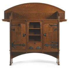 Henri Rapin ARMOIRE, CIRCA 1904 executed by Rabussier et Gagnant with metalwork by Régius, Paris oak with inlaid decoration, hammered and patinated wrought iron