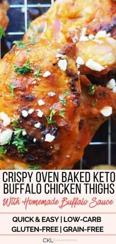 These Keto Buffalo Chicken Thighs are crispy perfection. Everyone knows that the best part of chicken thighs is the crispy skin. Low Carb Appetizers, Appetizer Recipes, Dinner Recipes, Dinner Ideas, Lunch Ideas, Lunch Recipes, Free Keto Recipes, Low Carb Recipes, Easy Recipes