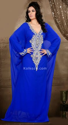 To Make A Mark In The World Of Style Make The Heads Turn When You Dress Up In This Charming exotic Blue Color Faux Georgette #Trendy #Kaftan.