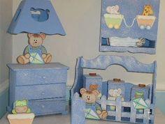 Abajur para quarto de bebê, como fazer – Para presentear um casal com um filho ainda neném, consider Designer Baby, Decoupage, Kit Bebe, Baby Kit, Baby Design, Baby Decor, Ideas Para, Toy Chest, Storage Chest