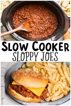 Make delicious homemade sloppy joes in your slow cooker. The sauce and meat slow cook together and makes for a comforting dinner. - The Magical Slow Cooker Potluck Recipes, Meat Recipes, Slow Cooker Recipes, Crockpot Recipes, Potluck Meals, Slow Cooker Venison, Slow Cooker Sloppy Joes, Venison Chili, The Magical Slow Cooker