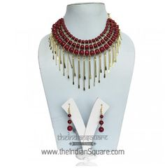 #Red #Beads #Designer #Set is match perfectly with any outfit. CASH ON DELIVERY available.