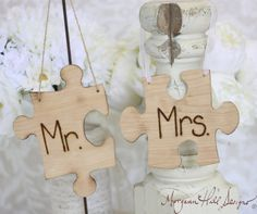 Shabby Chic Mr and Mrs Chair Signs Puzzle Pieces Custom Wedding Decor (Item number 140022)