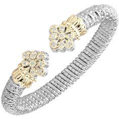 "Sterling Silver & 14K Yellow Gold Diamond ""Fleur de Lis"" Bangle Bracelet Featuring 0.24 Carat Round Diamonds by Vahan. Available at BenGarelick.com $3000. https://www.bengarelick.com/products/vahan-sterling-silver-14k-yellow-gold-diamond-pave-fleur-de-lis-bangle-bracelet"