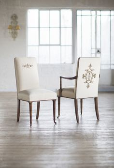 Pavilion dining chairs with Cellini embroidery.