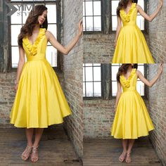 WW Bridesmaid Dress 2014 V-Neck Sleeveless Yellow Simple Bridesmaid Dress | Buy Wholesale On Line Direct from China