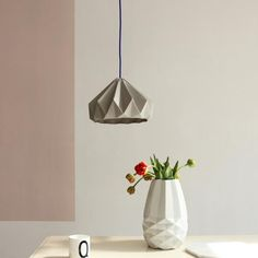 Snowpuppe Chestnut paper oragami lamp in grey with grey/white cord