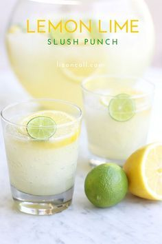 The perfect drink for summer parties - lemon lime slush punch - easy party punch recipe - slush punch recipe
