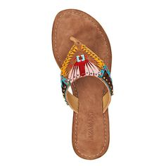 Beautiful details, as if they're covered in colourful feathers! Leather Flip Flops, Colorful Feathers, Mellow Yellow, Summer Wear, Flip Flop Sandals, Bag Accessories, Slippers, Shoe Bag, How To Wear