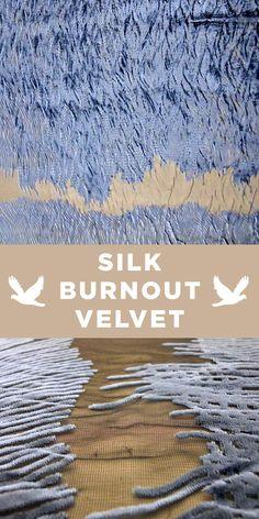 Blue Slate Silk Rayon Burnout Velvet