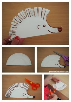 Hedgehog Paper Plate Craft Cute Paper Plate Craft perfect to practice early scissor skills! The post Hedgehog Paper Plate Craft appeared first on Paper Ideas. Kids Crafts, Toddler Crafts, Arts And Crafts, Easy Crafts, Paper Plate Crafts, Paper Plates, Paper Crafting, Hedgehog Craft, Scissor Skills