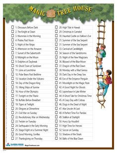 A checklist of all the books in the Magic Tree house Series.  Lily has a goal to read all of them.