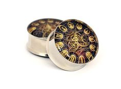 Pair of Steampunk Clock Plugs gauges Choose Size new | eBay