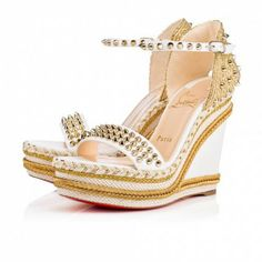 Christian Louboutin Canada Official Online Boutique - Madmonica 120 Version Latte Leather available online. Discover more Women Shoes by Christian Louboutin Leather Wedge Sandals, Wedge Shoes, Shoes Sandals, Strap Sandals, Louboutin Online, Louboutin Wedges, Red Bottom Heels, Christian Louboutin Women, Christian Dior