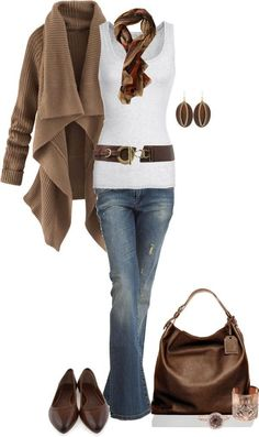 I want this outfit RIGHT NOW. Casual Outfit of jeans, white top w/ brown belt, brown cardigan & accessories Mode Outfits, Winter Outfits, Casual Outfits, Fashion Outfits, Womens Fashion, Fashion Trends, Fashionista Trends, Fashion Tips, Fashion Ideas