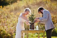 tree planting ceremony in lieu of a unity candle! ADORE this idea!