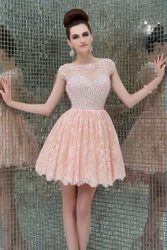 2014 Scoop Neckline Open Back A Line Tulle And Lace Short/Mini Prom Dress Rhinestone Beaded Bodice