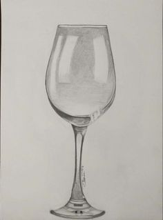bleistiftzeichnung 'Wine glass' in pencil Pencil Sketches Easy, Pencil Drawings For Beginners, Beginner Sketches, Easy Drawings Sketches, Cool Art Drawings, Pencil Art Drawings, Wine Glass Drawing, Bottle Drawing, Still Life Sketch