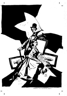 Monsters & Dames ECCC Art Book cover by Mike Mignola B&W Book Cover Art, Book Art, Mike Mignola, Character Design Inspiration, Monsters, Darth Vader, Fictional Characters, Fantasy Characters, The Beast