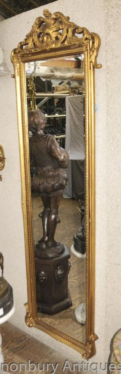 French Empire Tall Hall Mirror Gilt Mirrors Glass