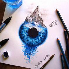 Fantastic Eye Drawings by Elia Pellegrini Cool Art Drawings, Amazing Drawings, Colorful Drawings, Drawing Sketches, Eye Drawings, Iris Drawing, Cool Pictures To Draw, Eye Illustration, Eyes Artwork