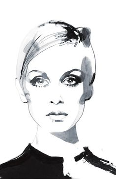 Twiggy by David Downton #illustration #david_downton  - I like this style of painting, with minimalist details in monochromatic. :)