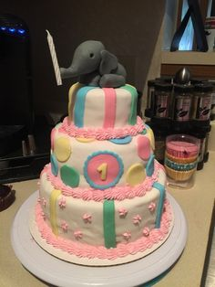 I made my first tiered cake! My baby cousin's first birthday cake. I'm new to decorating so any constructive criticism is appreciated! #baking #cooking #food #recipes #cake #desserts #win #cookies #recipe #cakes #cupcakes