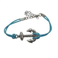 Nautical Blue Leather Anchor Bracelet <3