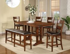 Mango Rectangular Counter Height Treste Table Dining Room Set | Winners Only | Home Gallery Stores