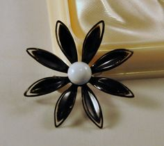 Vintage Enamel Black and White Brooch  Cute by etherealemporium, $12.00