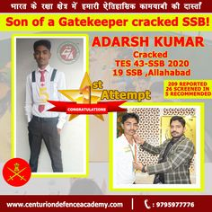 Another #selection of #Centurion in the auspicious month of Holi. Bright, Vigilant, Radiant acheiver #Adarsh Kumar has filled colors in his life. There is no limit to victory and Adarsh #recommendation is a well deserved victory on this Holi.  Reported on 28th February with 209 candidates, 26 Screened In and 5 Recommended, Adarsh Kumar #cracked #SSB and get recommended  from #TES 43 #Allahabad on 3rd March, 2020.  Just Call @ +91 9795977776 Visit: www.centuriondefenceacademy.com… Merchant Navy, Victorious, Holi, Air Force, Coaching, February, Bright, Colors, Life