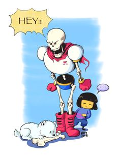 PAPYRUS and Frisk by I Doodle on Margins