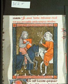 Miniature. Lancelot du Lac (part 2). Knight on horse. Woman with flog also on horse.Table Ronde Date 13th century Source 39106 Language Latin Rights Copyright© Universitätsbibliothek Bonn and the Hill Museum & Manuscript Library. All rights reserved. Folio 489, ii F. Further Information For further information, visit http://www.hmml.org