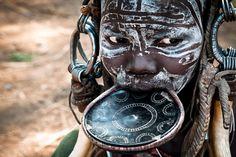 Tag, Völker, Ureinwohner, Erde, Körperschmuck:, Diese, Frau, Völkern,, Omo-Tal, Äthiopien