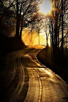 Sunrise over the open road - beautiful picture!