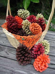 Basket of Painted Pinecones Halloween Decoration Valentine Basket Painted Pink Pinecone Colorful Pinecones Floral Arrangement All Holidays Pine Cone Art, Pine Cone Crafts, Pine Cones, Autumn Crafts, Thanksgiving Crafts, Holiday Crafts, Holiday Ideas, Pine Cone Decorations, Halloween Decorations