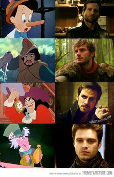 hahahaha... I don't know why they did this. but I'm thankful. Disney characters and their sexy Once Upon a Time counterparts :)