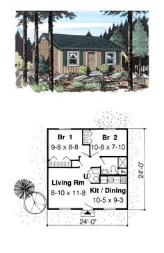 House Plan 34075 - Cabin, Cottage, Traditional Style House Plan with 592 Sq Ft, 2 Bed, 1 Bath Cottage House Plans, Small House Plans, House Floor Plans, Narrow Lot House Plans, Small Floor Plans, Narrow House, Tiny House Big Living, 2 Bedroom House Plans, Tiny House Design
