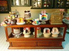 Cakes!!! Made from polymer clay in 1:12 scale for the mini bakery.