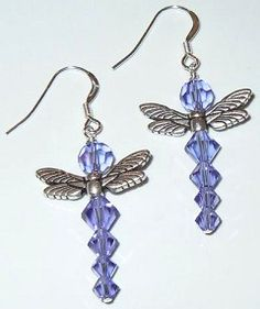Swarovski crystal dragonfly earrings - So cute! Look for project #123 on the Idea Page.