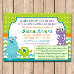 Mini monsters inc baby shower invitation boy or girl neutral mini monsters inc baby shower invitation by heartfeltinvitations filmwisefo