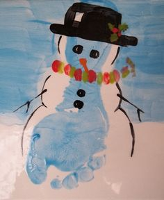 Snowman painting from footprint! I like this version much better.