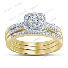 Yellow Gold Finish 925 Silver Rd Sim Diamond Solitaire W/Accents Bridal Ring Set #BridalEngagementRingSet #WeddingEngagementAnniversaryBirthdayPartyGift