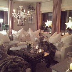 Seriously this has to be one of the most glam and comfiest living rooms in existence! @jadorelexiecouture