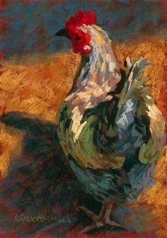"""Chicken in the Morning"" - Original Fine Art for Sale - © Rita Kirkman"